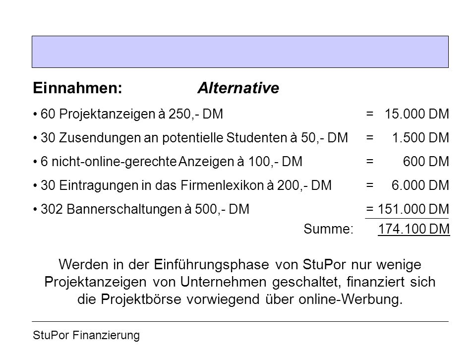 Einnahmen: Alternative