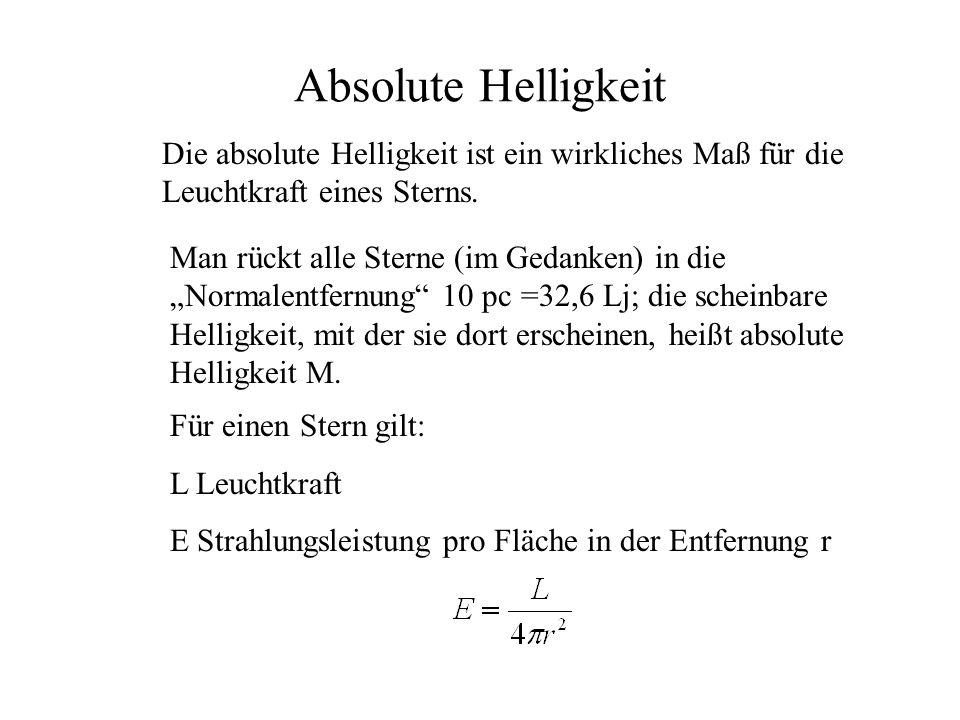 Absolute Helligkeit Die absolute Helligkeit ist ein wirkliches Maß für die Leuchtkraft eines Sterns.
