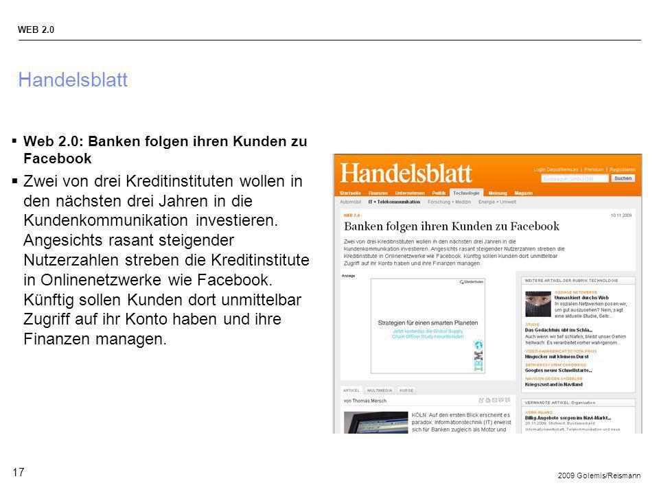 Handelsblatt Web 2.0: Banken folgen ihren Kunden zu Facebook.