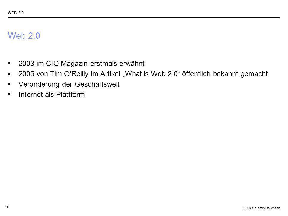 Web 2.0 2003 im CIO Magazin erstmals erwähnt