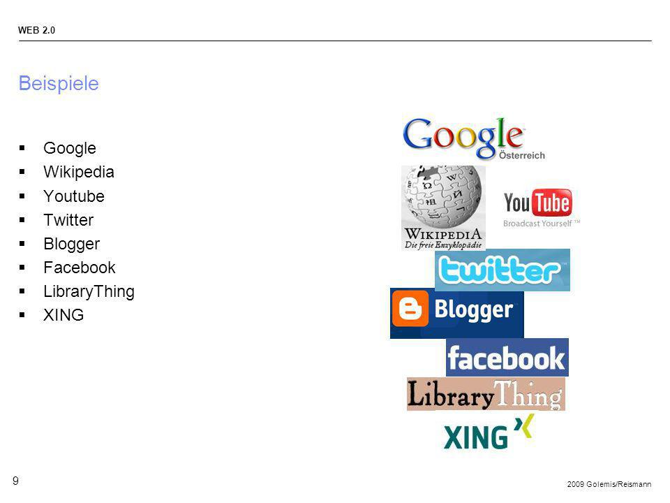 Beispiele Google Wikipedia Youtube Twitter Blogger Facebook