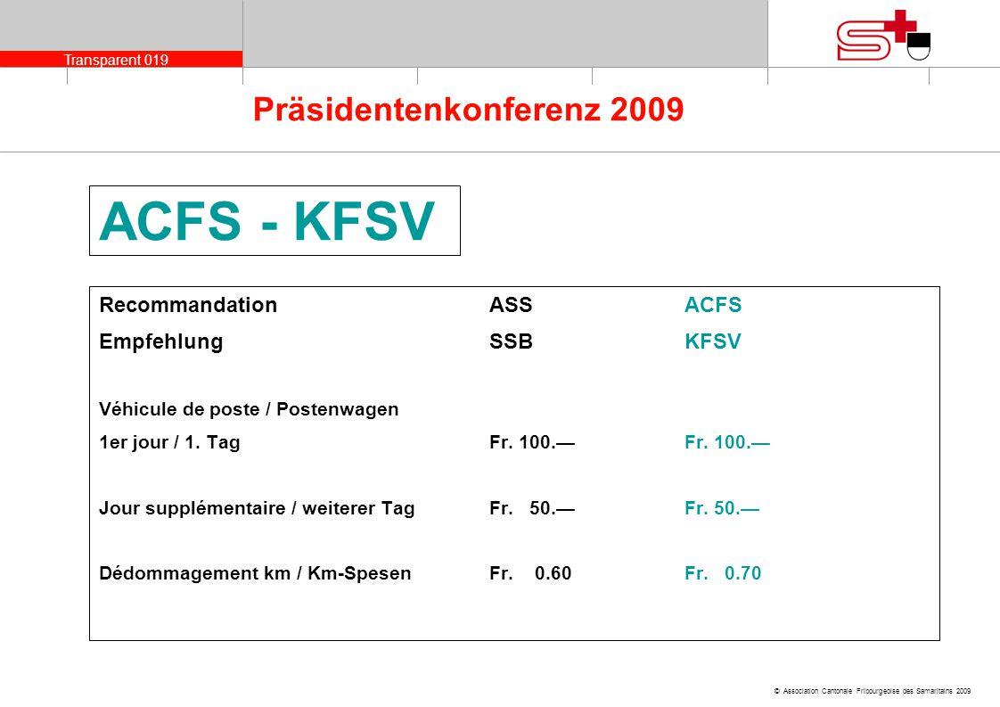 ACFS - KFSV Recommandation ASS ACFS Empfehlung SSB KFSV