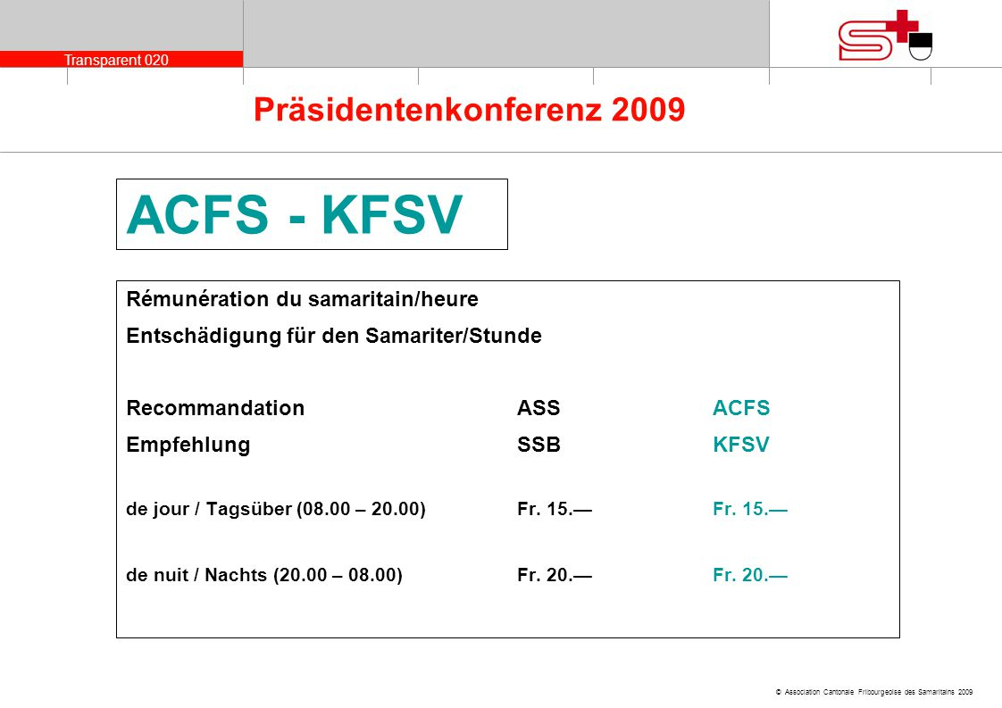 ACFS - KFSV Rémunération du samaritain/heure
