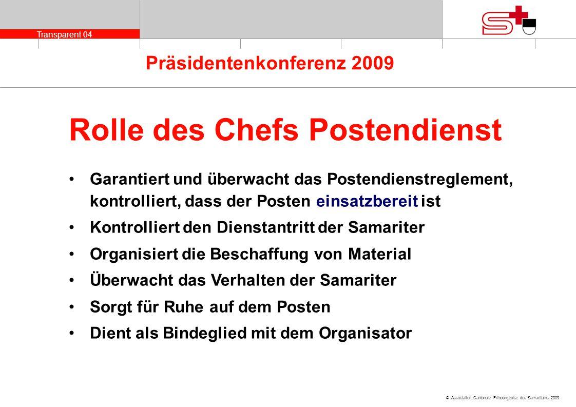 Rolle des Chefs Postendienst