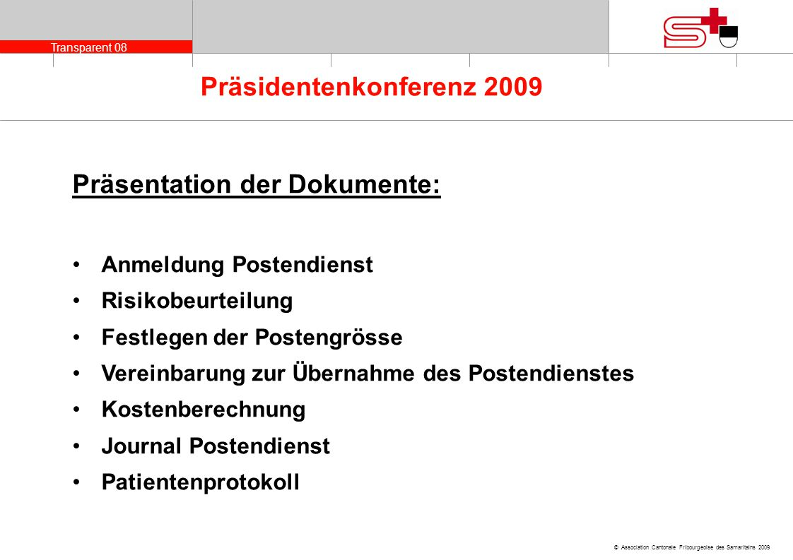 Präsentation der Dokumente: