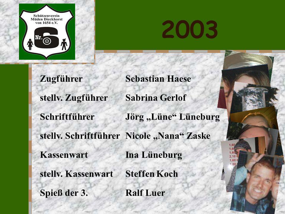 2003 Zugführer Sebastian Haese stellv. Zugführer Sabrina Gerlof