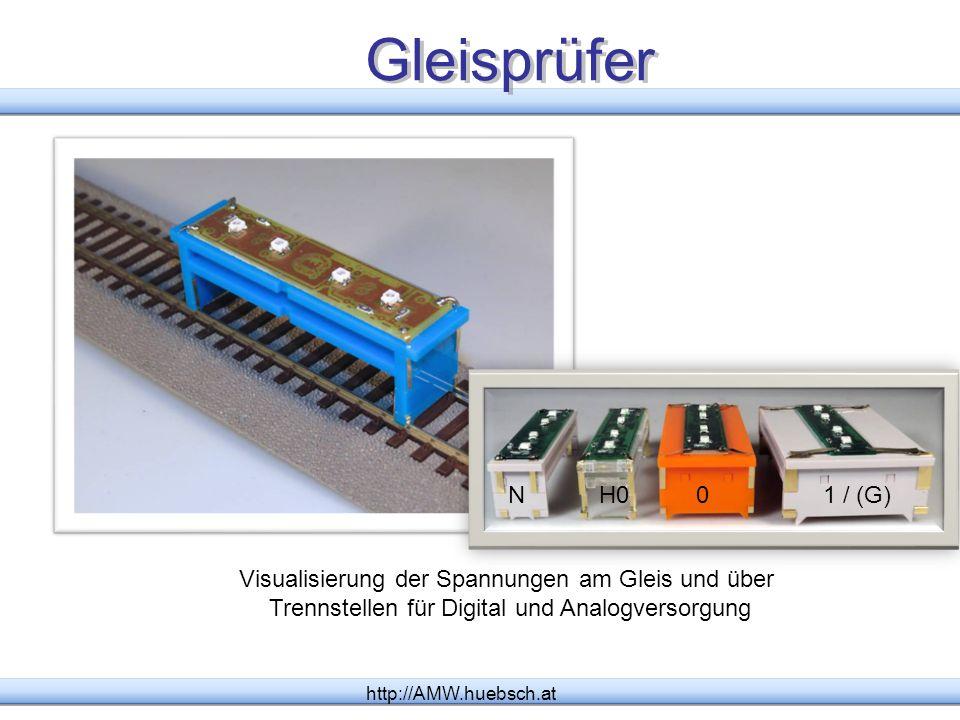 Gleisprüfer N H0 0 1 / (G) Visualisierung der Spannungen am Gleis und über.