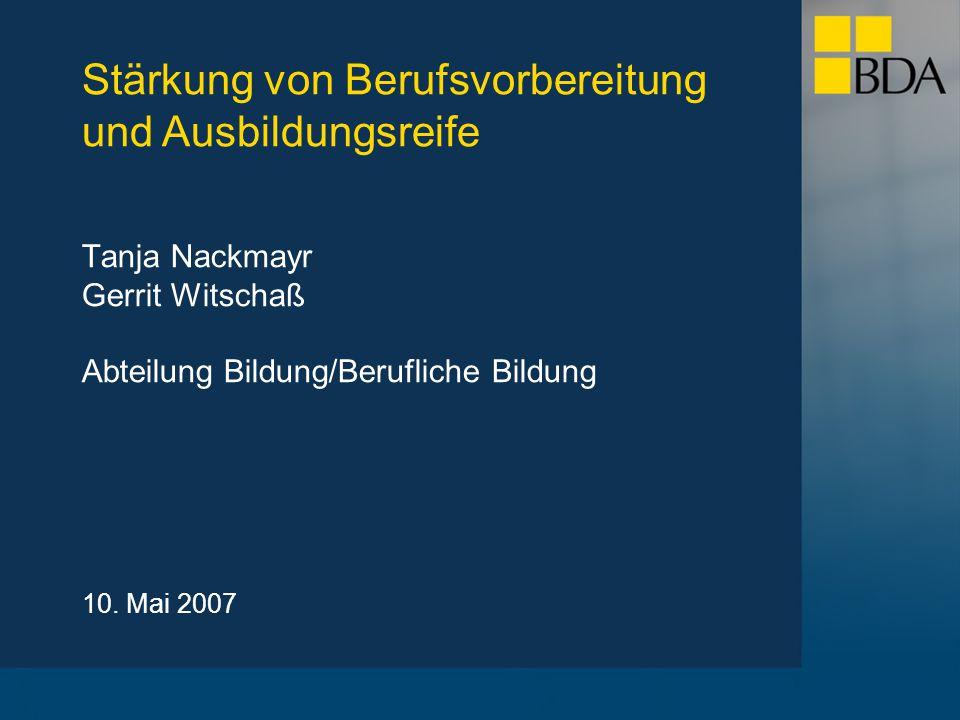 Tanja Nackmayr Gerrit Witschaß Abteilung Bildung/Berufliche Bildung