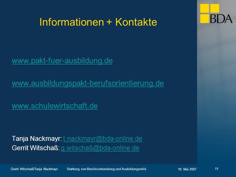 Informationen + Kontakte