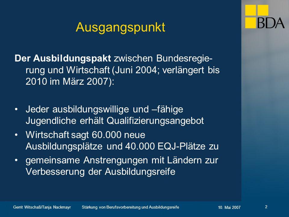 Ausgangspunkt Der Ausbildungspakt zwischen Bundesregie-rung und Wirtschaft (Juni 2004; verlängert bis 2010 im März 2007):