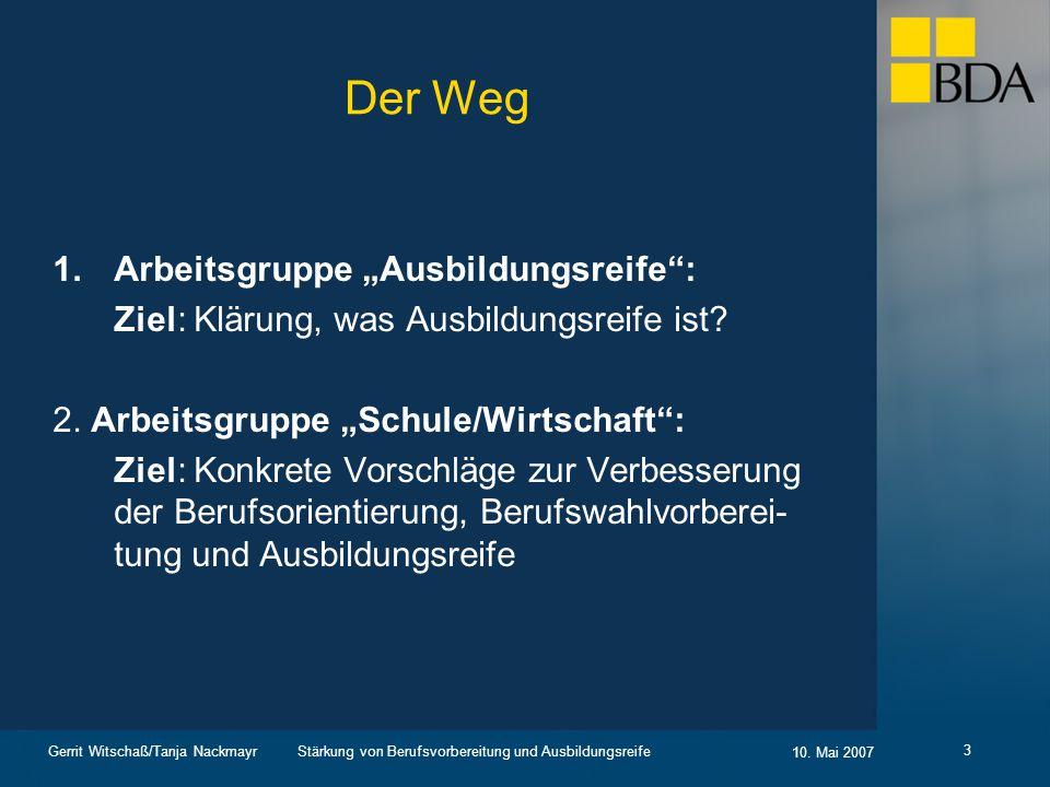 """Der Weg Arbeitsgruppe """"Ausbildungsreife :"""