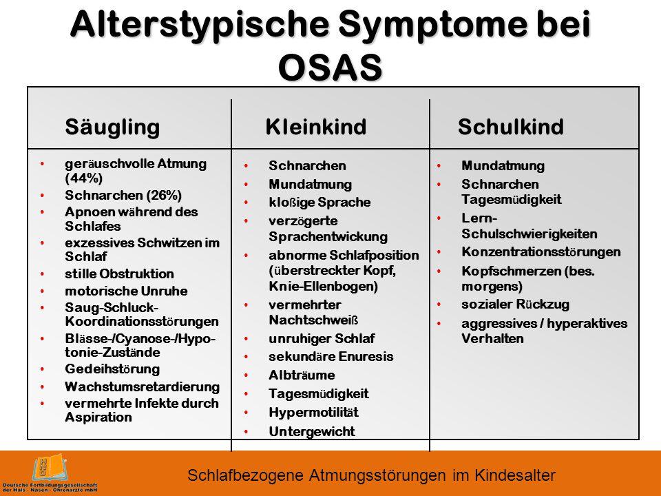 Alterstypische Symptome bei OSAS