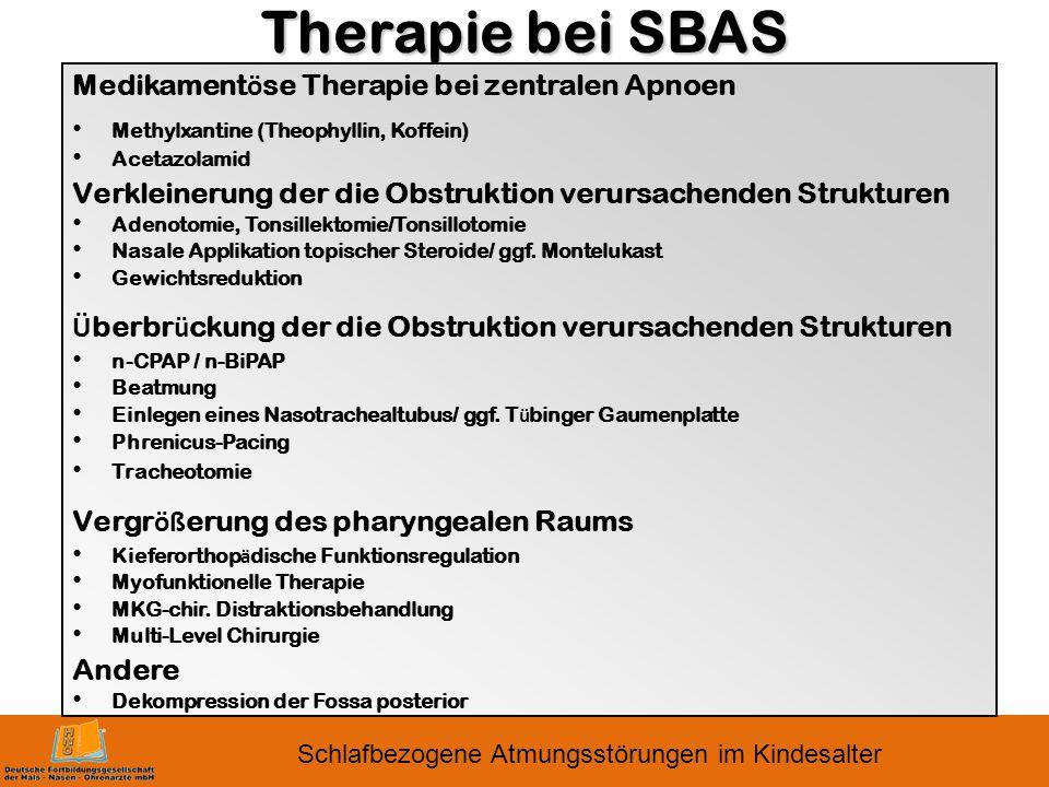 Therapie bei SBAS Medikamentöse Therapie bei zentralen Apnoen