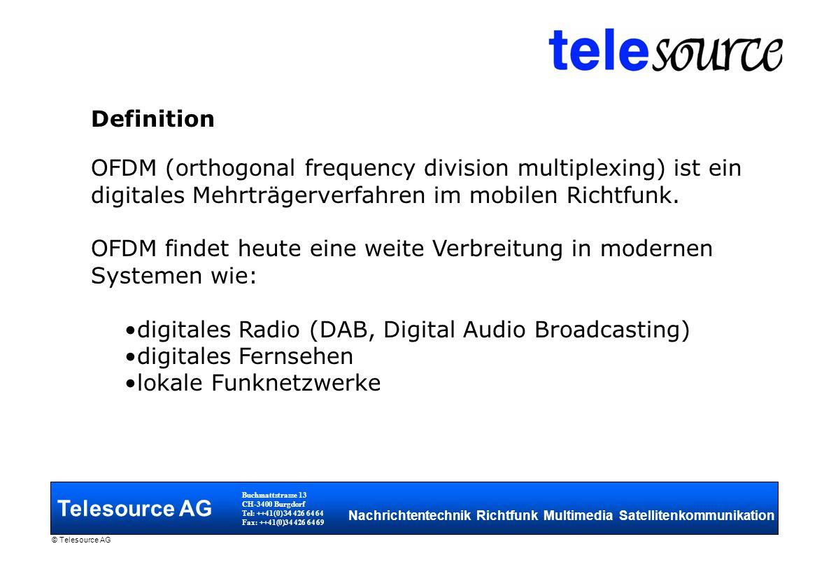 OFDM findet heute eine weite Verbreitung in modernen Systemen wie: