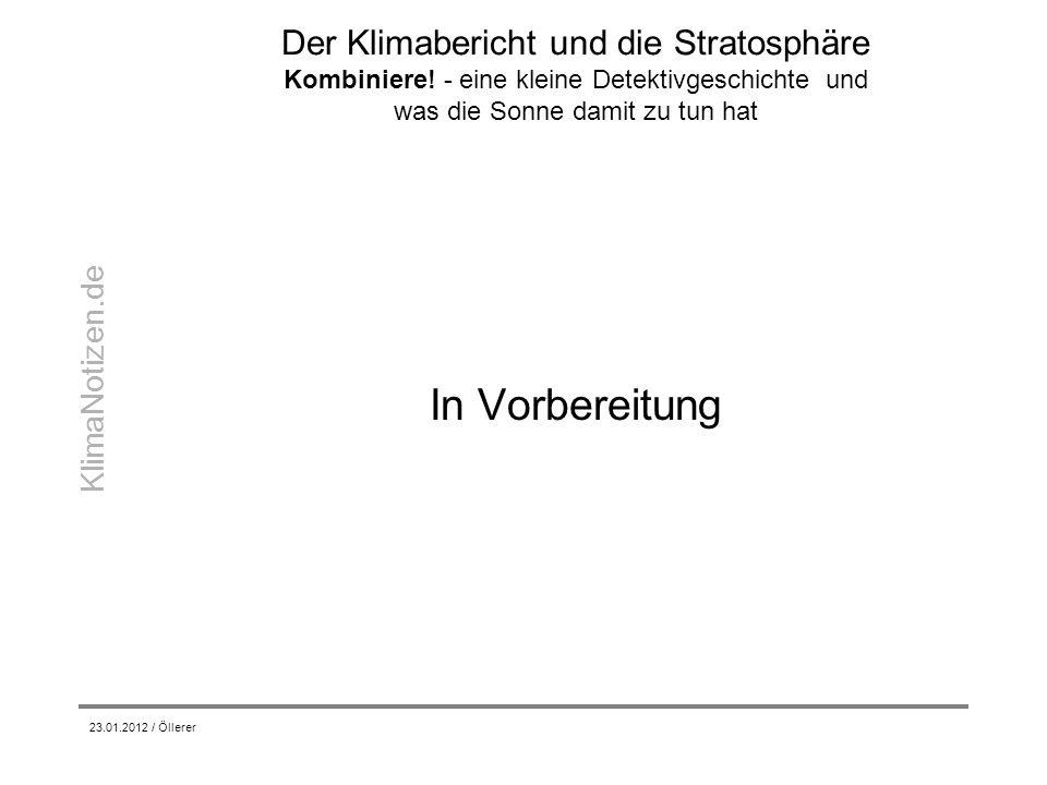 Der Klimabericht und die Stratosphäre Kombiniere