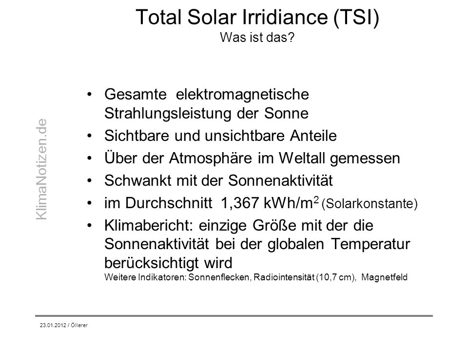 Total Solar Irridiance (TSI) Was ist das