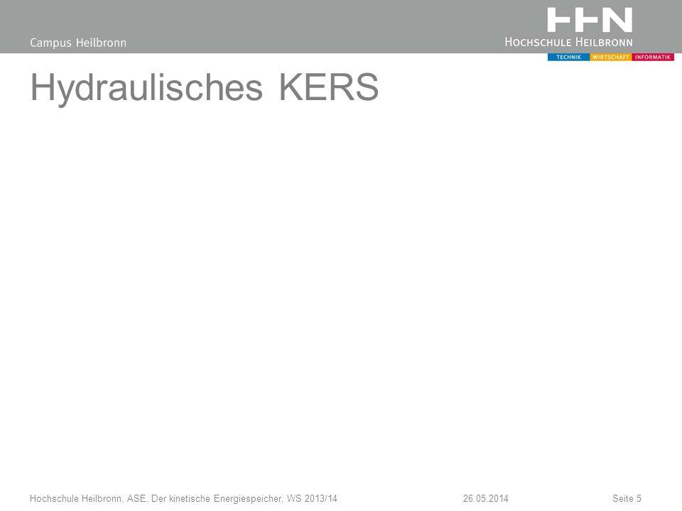 Hydraulisches KERS Hochschule Heilbronn, ASE, Der kinetische Energiespeicher, WS 2013/14 31.03.2017