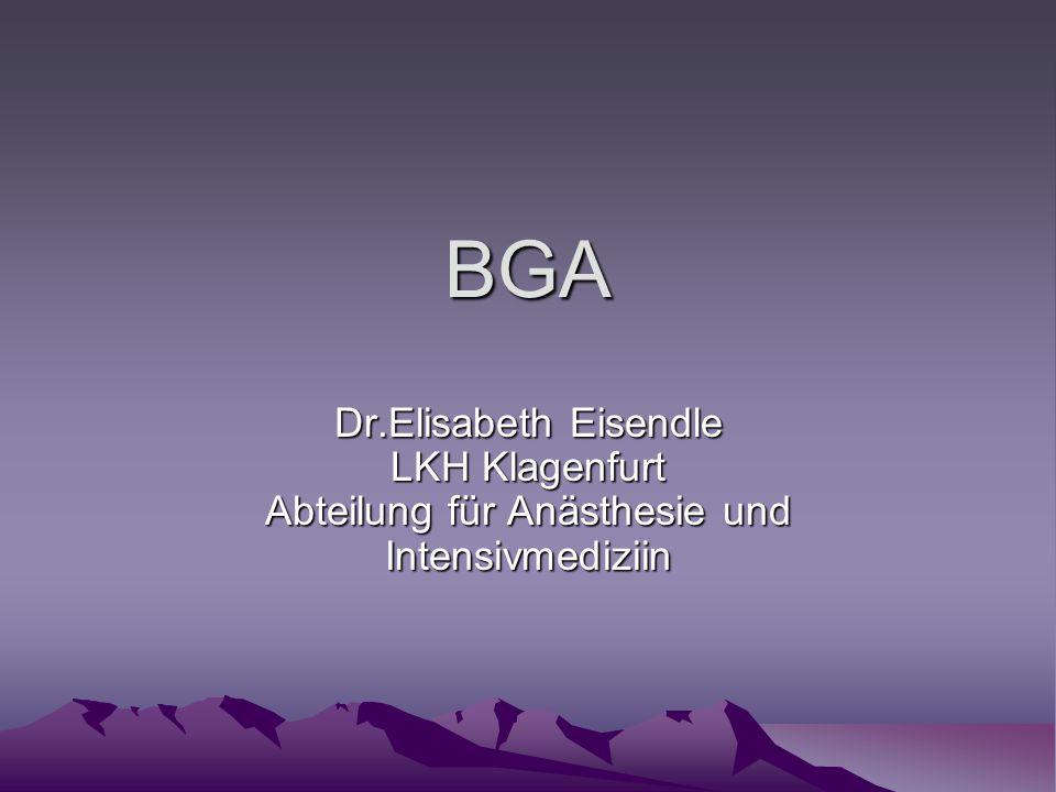 BGA Dr.Elisabeth Eisendle LKH Klagenfurt Abteilung für Anästhesie und Intensivmediziin