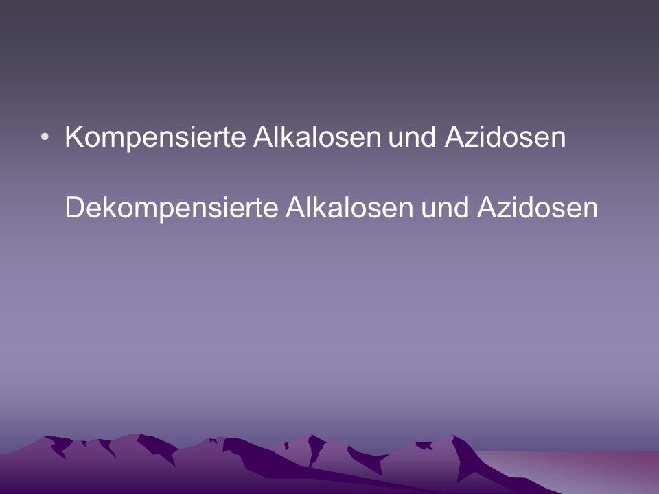 Kompensierte Alkalosen und Azidosen Dekompensierte Alkalosen und Azidosen