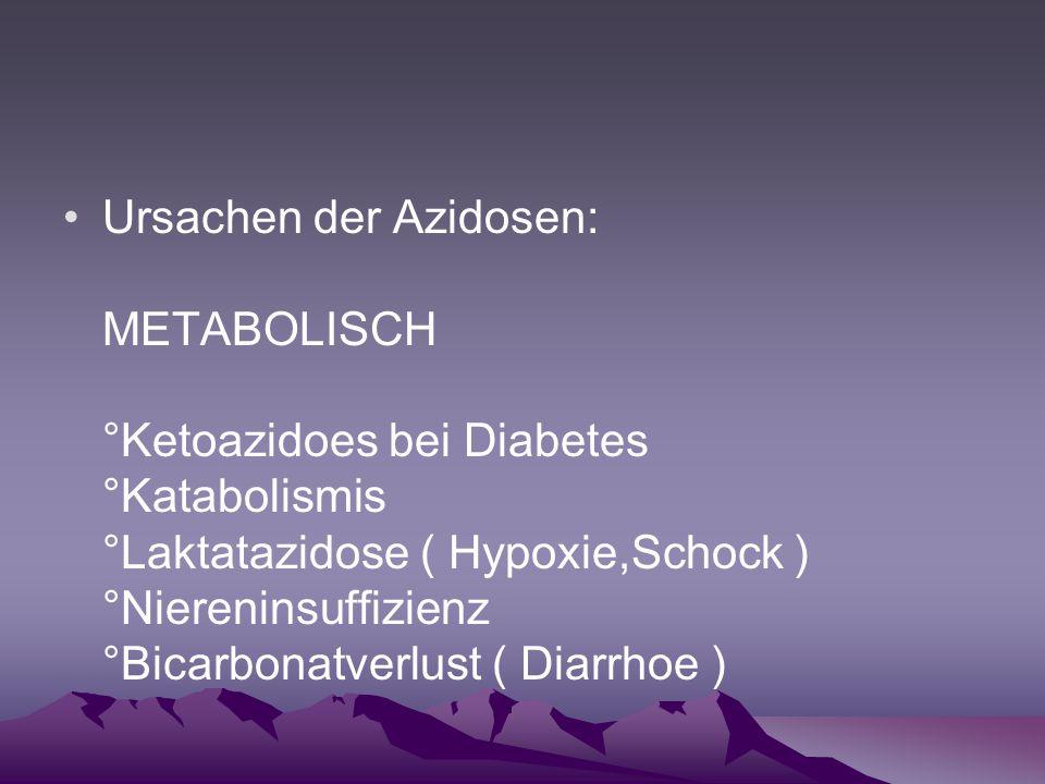 Ursachen der Azidosen: METABOLISCH °Ketoazidoes bei Diabetes °Katabolismis °Laktatazidose ( Hypoxie,Schock ) °Niereninsuffizienz °Bicarbonatverlust ( Diarrhoe )