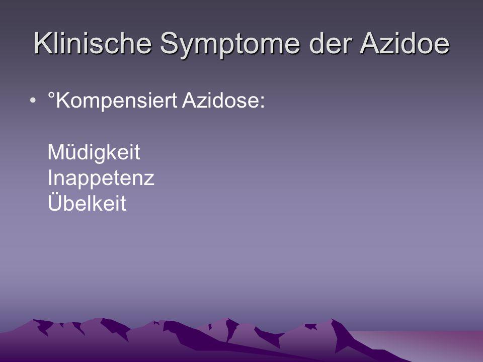 Klinische Symptome der Azidoe