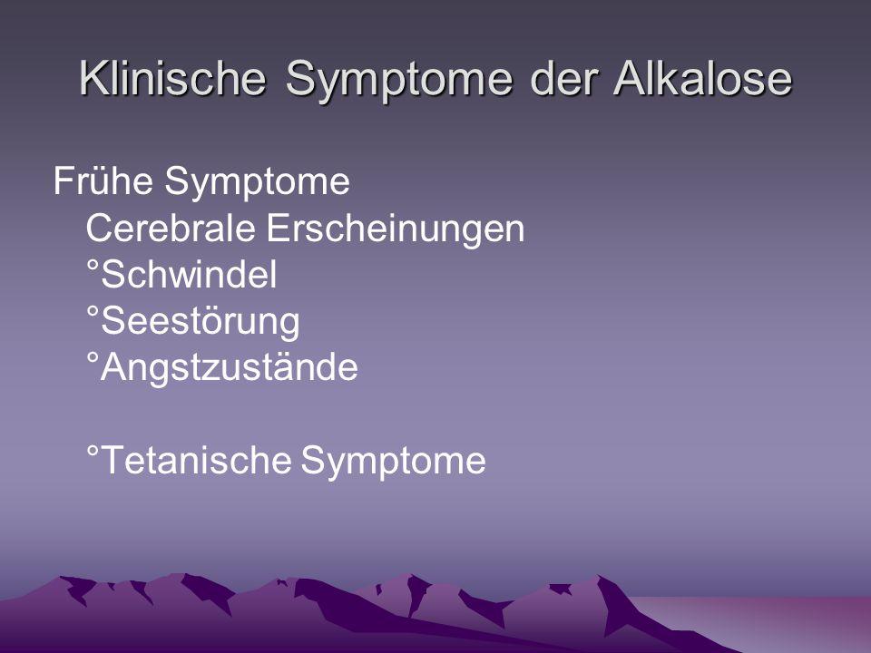 Klinische Symptome der Alkalose