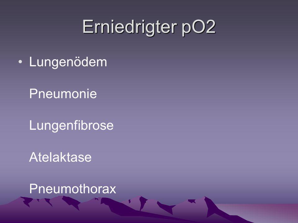 Erniedrigter pO2 Lungenödem Pneumonie Lungenfibrose Atelaktase Pneumothorax