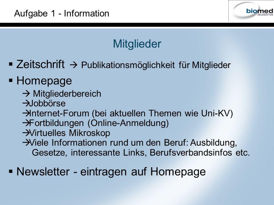 Zeitschrift  Publikationsmöglichkeit für Mitglieder Homepage