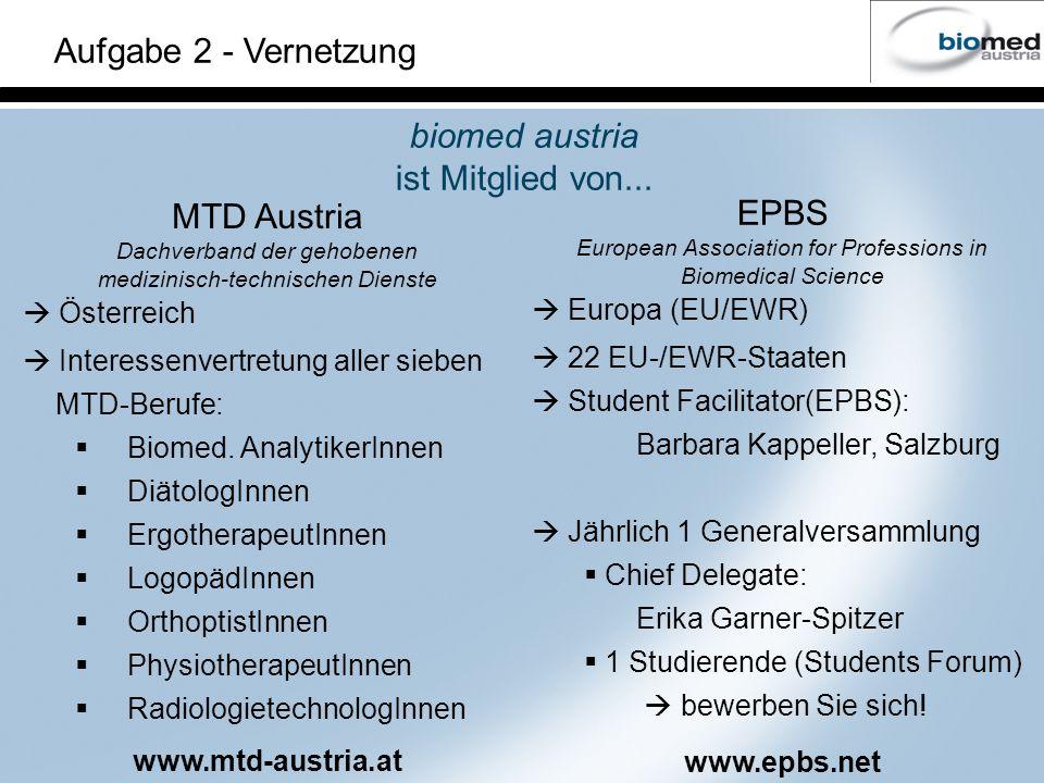 Aufgabe 2 - Vernetzung biomed austria ist Mitglied von... MTD Austria