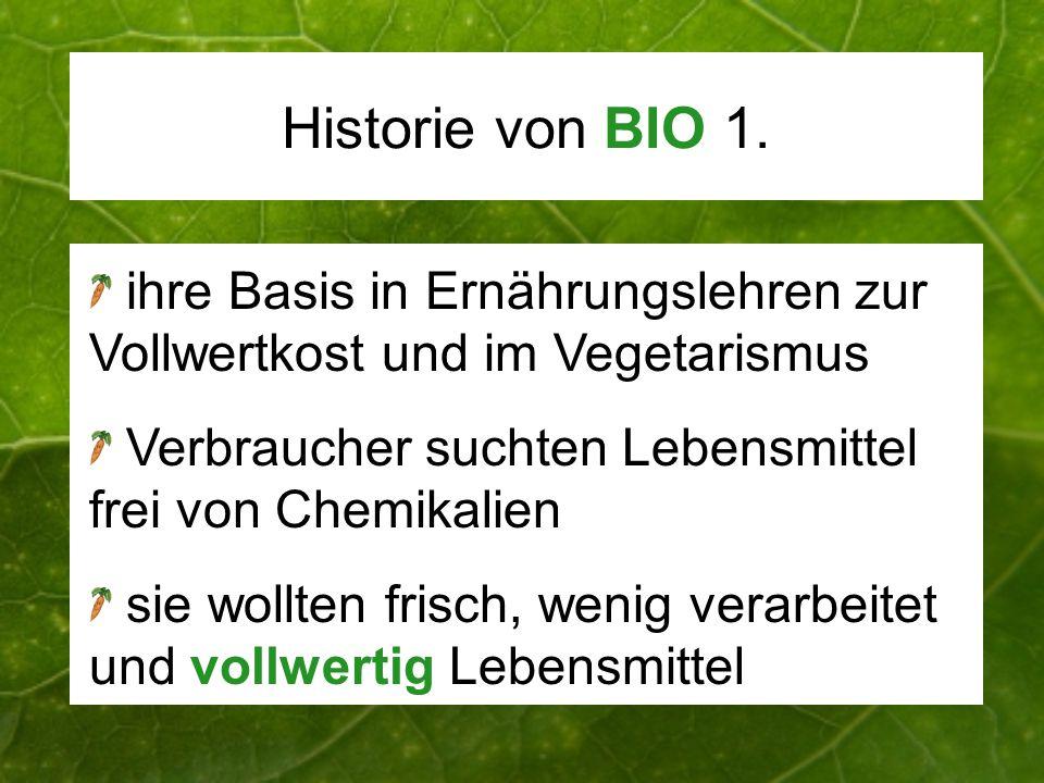 Historie von BIO 1. ihre Basis in Ernährungslehren zur Vollwertkost und im Vegetarismus. Verbraucher suchten Lebensmittel frei von Chemikalien.