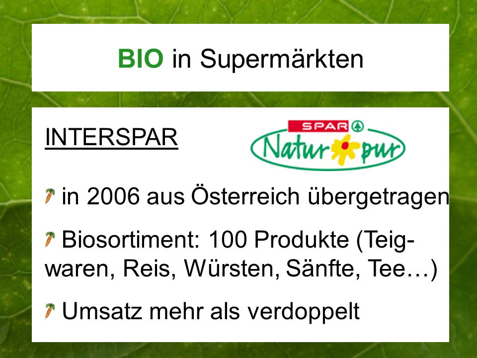 BIO in Supermärkten INTERSPAR in 2006 aus Österreich übergetragen