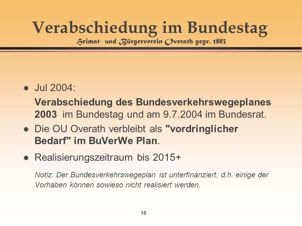 Verabschiedung im Bundestag Heimat- und Bürgerverein Overath gegr. 1883
