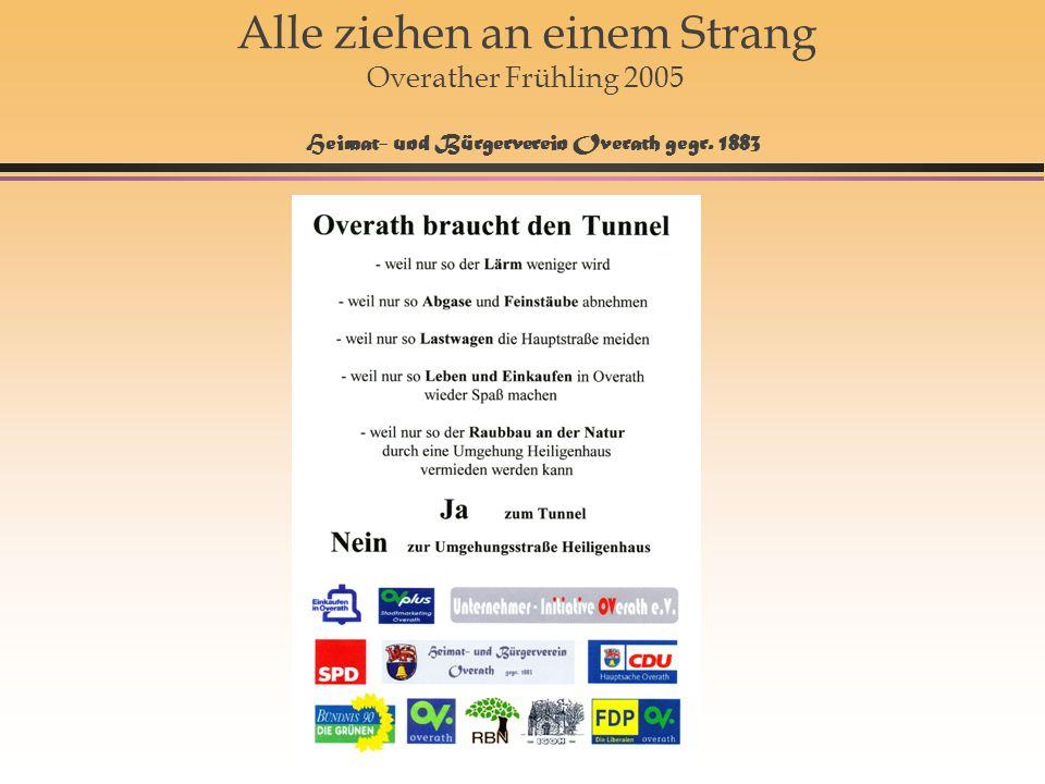 Alle ziehen an einem Strang Overather Frühling 2005 Heimat- und Bürgerverein Overath gegr. 1883