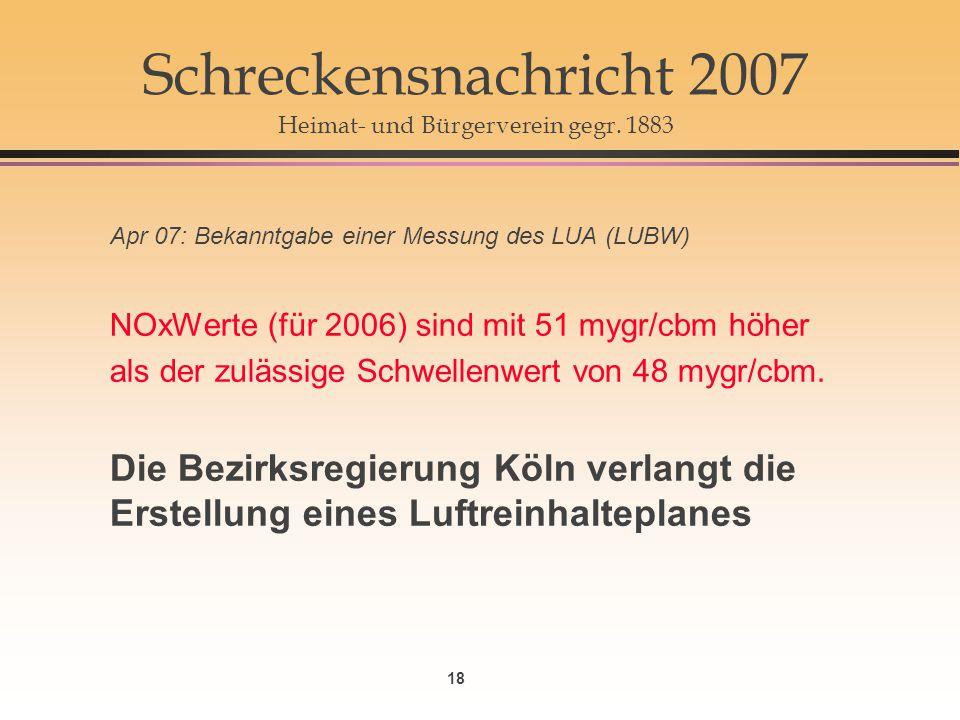 Schreckensnachricht 2007 Heimat- und Bürgerverein gegr. 1883