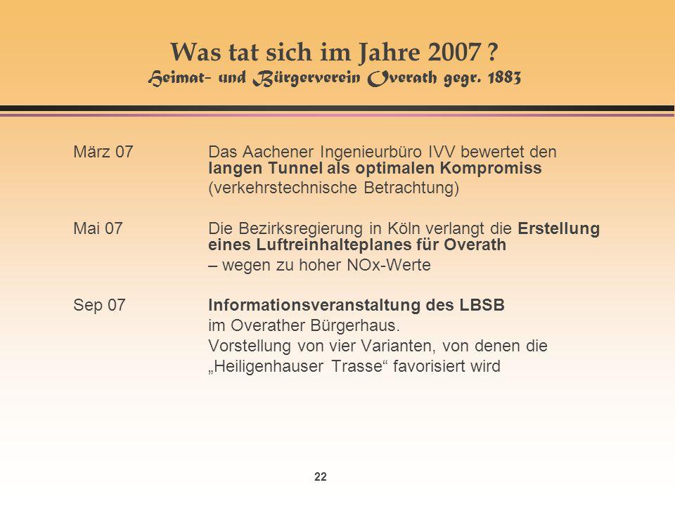 Was tat sich im Jahre 2007 Heimat- und Bürgerverein Overath gegr. 1883