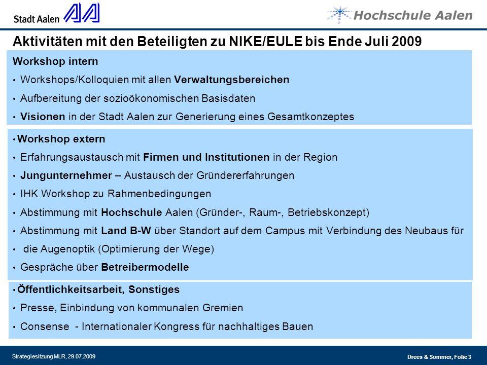 Aktivitäten mit den Beteiligten zu NIKE/EULE bis Ende Juli 2009