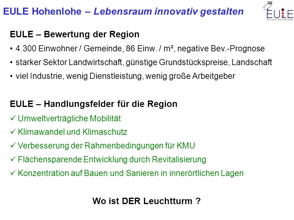 EULE – Bewertung der Region