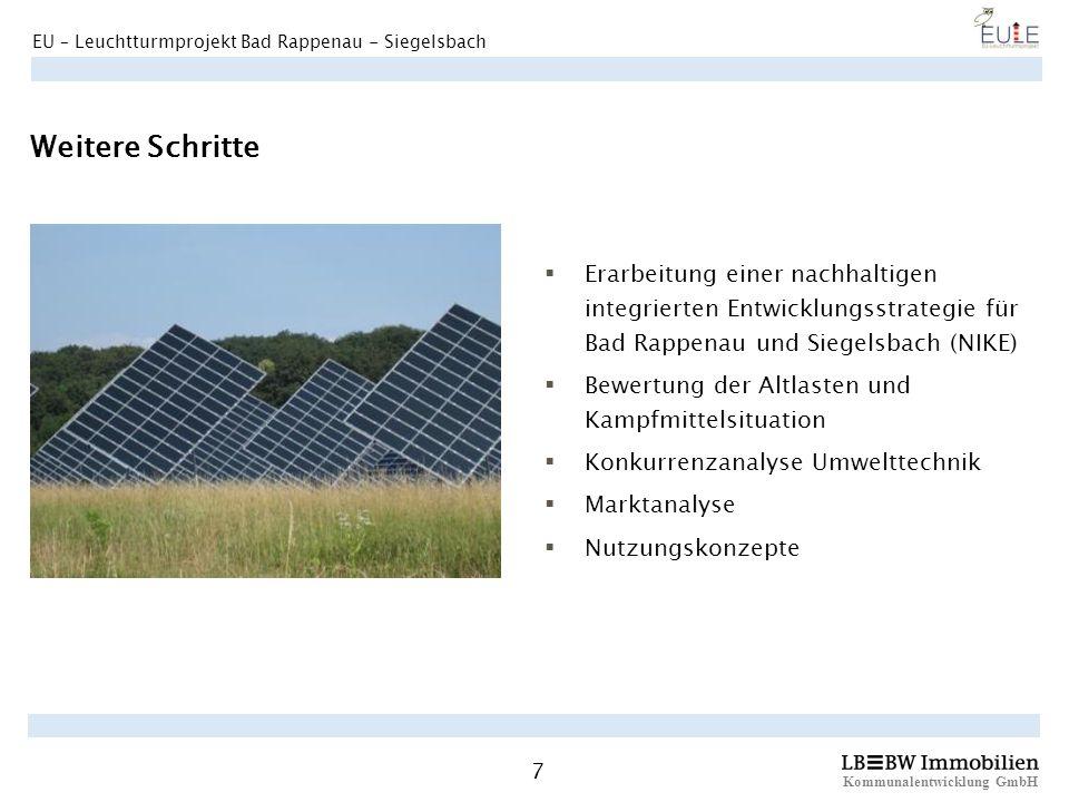 Weitere Schritte Erarbeitung einer nachhaltigen integrierten Entwicklungsstrategie für Bad Rappenau und Siegelsbach (NIKE)