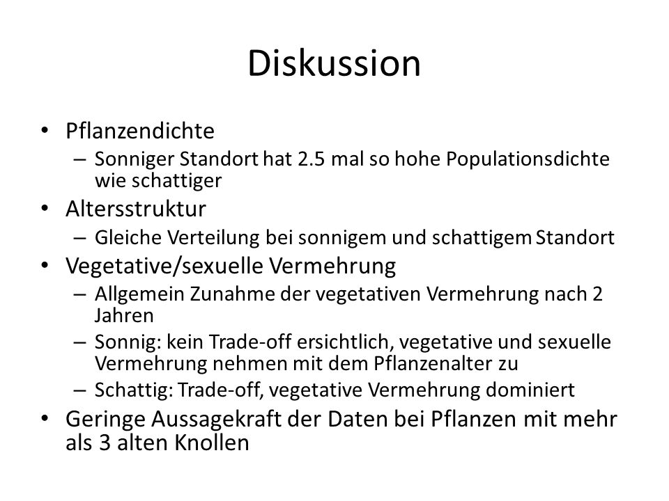 Diskussion Pflanzendichte Altersstruktur