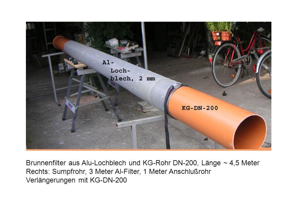 Brunnenfilter aus Alu-Lochblech und KG-Rohr DN-200, Länge ~ 4,5 Meter
