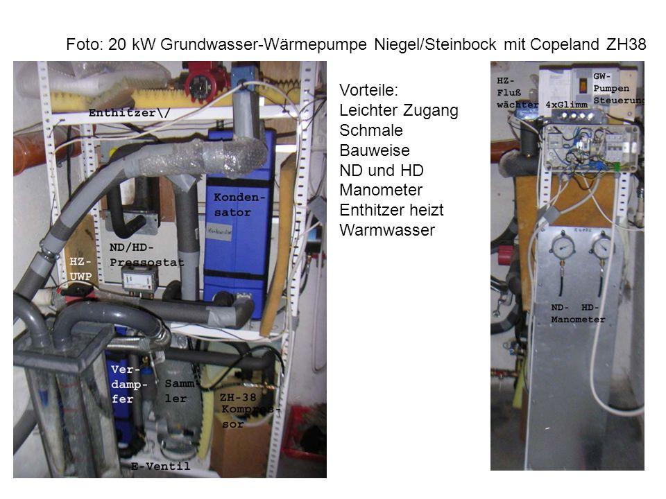 Foto: 20 kW Grundwasser-Wärmepumpe Niegel/Steinbock mit Copeland ZH38
