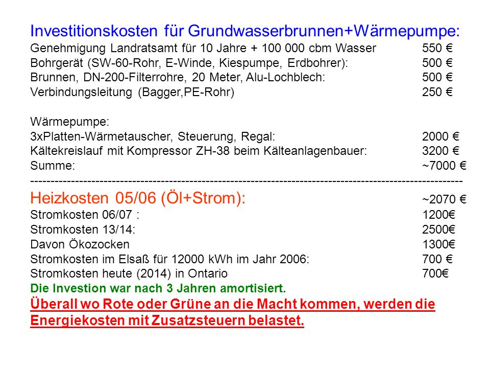 Investitionskosten für Grundwasserbrunnen+Wärmepumpe: