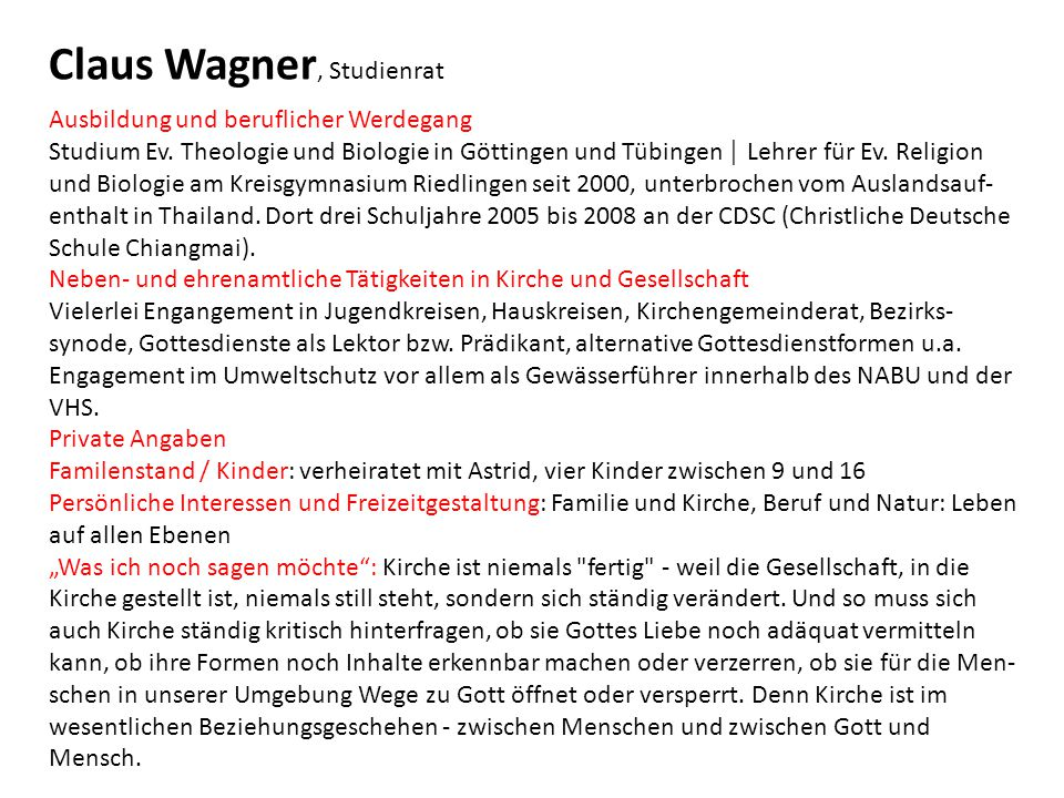 Claus Wagner, Studienrat