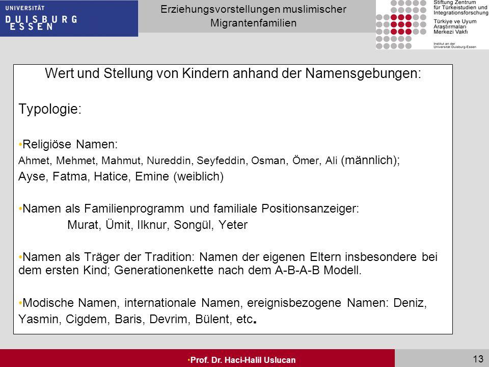 Wert und Stellung von Kindern anhand der Namensgebungen: