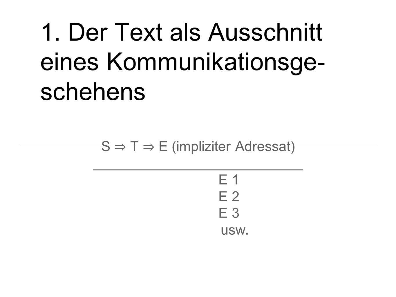1. Der Text als Ausschnitt eines Kommunikationsge-schehens