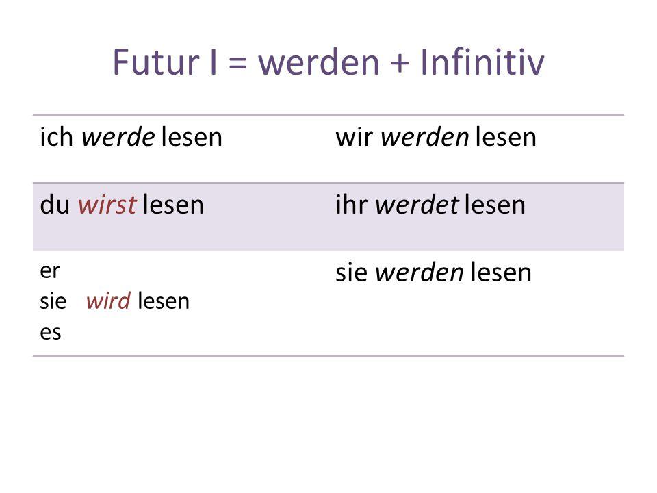 Futur I = werden + Infinitiv