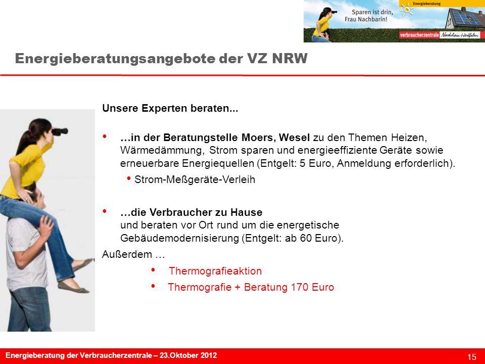 Energieberatungsangebote der VZ NRW