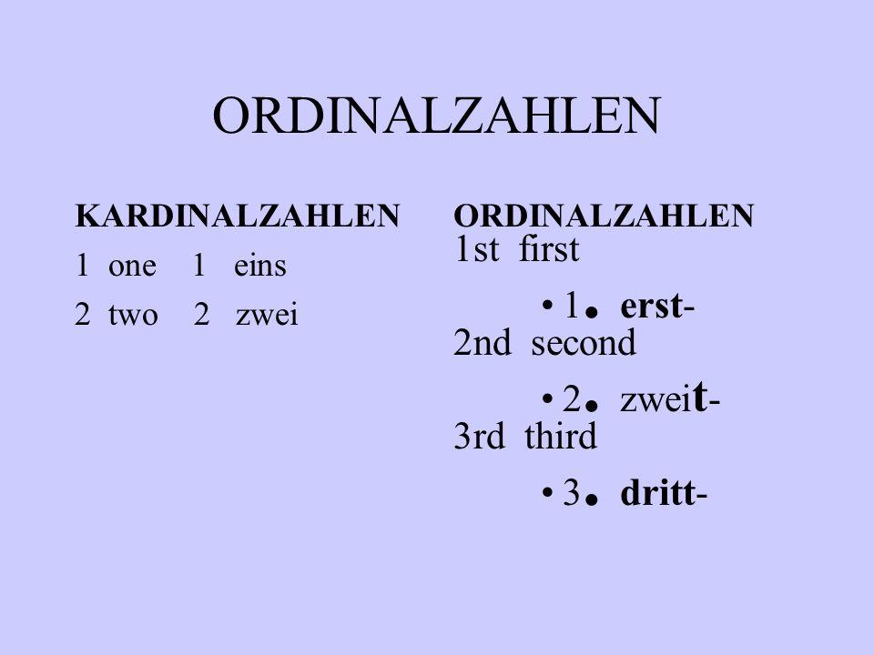 ORDINALZAHLEN 1st first 1. erst- 2nd second 2. zweit- 3rd third