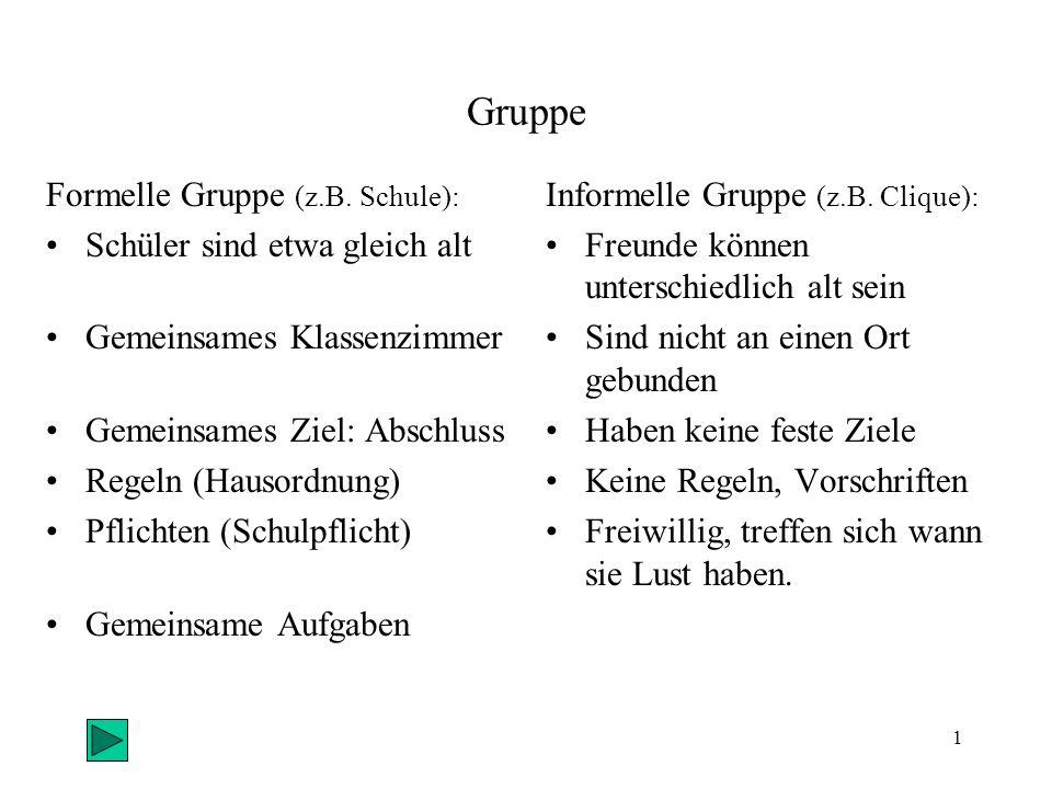 Gruppe Formelle Gruppe (z.B. Schule): Schüler sind etwa gleich alt