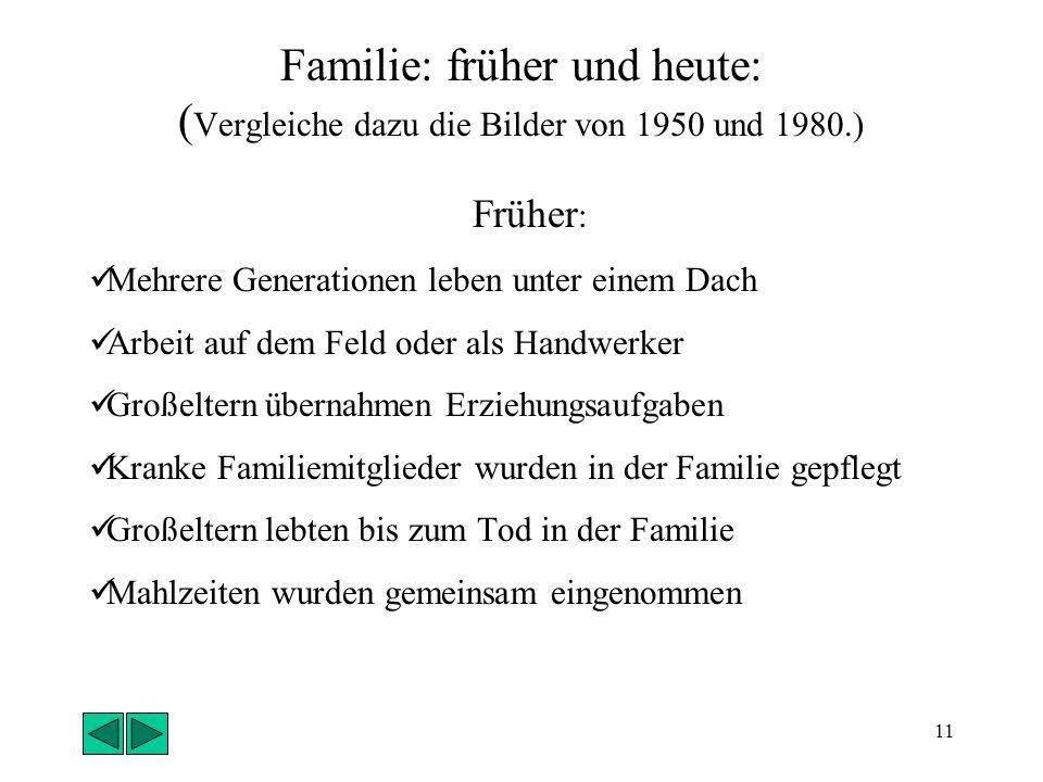 Familie: früher und heute: (Vergleiche dazu die Bilder von 1950 und 1980.)
